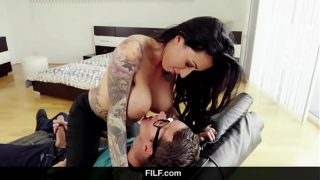 Lily Lane catches Step son jerking off to his step mom