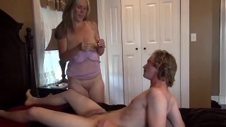 Mom teaching to step Son how to lick and fuck