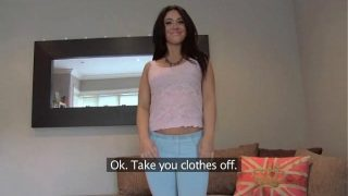 Pretty girl takes a massive facial on casting couch